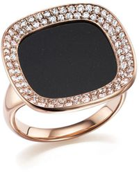 Roberto Coin - 18k Rose Gold Carnaby Street Diamond And Black Jade Ring - Lyst