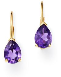 Bloomingdale's - Pear-shaped Amethyst Drop Earrings In 14k Yellow Gold - Lyst