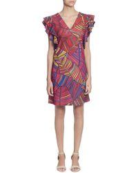Catherine Malandrino - Sandrine Printed Flutter-sleeve Dress - Lyst