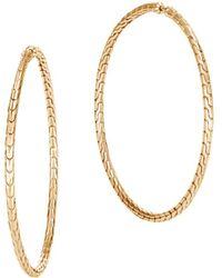 John Hardy - 18k Yellow Gold Classic Chain Large Hoop Earrings - Lyst