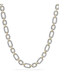 David Yurman - Cushion Chain Link Necklace With Blue Sapphires And 18k Gold - Lyst