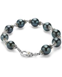 Lagos - 18k Gold And Sterling Silver Luna Cultured Freshwater Black Pearl Bracelet - Lyst