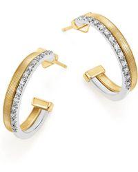 Marco Bicego - 18k Yellow & White Gold Masai Two Row Pavé Diamond Hoop Earrings - Lyst