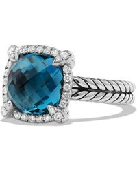David Yurman - Châtelaine Pavé Bezel Ring With Hampton Blue Topaz And Diamonds - Lyst