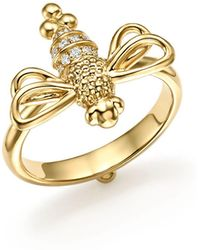 Temple St. Clair - 18k Yellow Gold Resting Bee Diamond Ring - Lyst