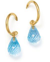 Bloomingdale's - Blue Topaz Briolette Hoop Drop Earrings In 14k Yellow Gold - Lyst
