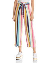 Aqua - Rainbow-stripe Tie-front Cropped Trousers - Lyst