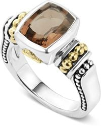Lagos - 18k Gold And Sterling Silver Caviar Color Small Smoky Quartz Ring - Lyst