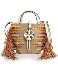 fd829241136 Tory Burch - Miller Mini Fringe Bucket Crossbody - Lyst