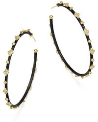 Armenta - 18k Yellow Gold And Blackened Sterling Silver Old World Midnight Diamond Hoop Earrings - Lyst