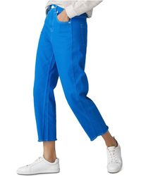 Whistles - High Rise Barrel Leg Jeans In Sapphire Blue - Lyst