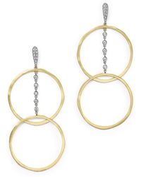 Meira T - 14k White And Yellow Gold Diamond Open Circle Dangle Earrings - Lyst