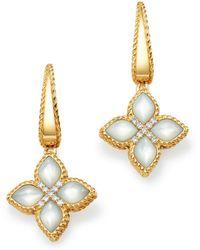 Roberto Coin - 18k Yellow Gold Venetian Princess Diamond & Mother Of Pearl Earrings - Lyst