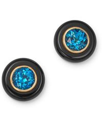 Bloomingdale's - London Blue Topaz & Black Onyx Stud Earrings In 14k Yellow Gold - Lyst