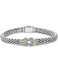 Lagos - 18k Gold And Sterling Silver Newport Knot Bracelet With Diamonds - Lyst