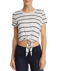 Aqua - Tie-front Cropped Striped Tee - Lyst