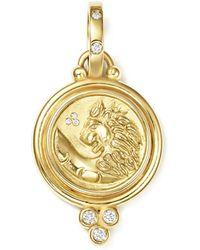 Temple St. Clair - 18k Yellow Gold Lion Coin Diamond Pendant - Lyst