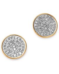 Adina Reyter - 14k Yellow Gold Pavé Diamond Large Disc Stud Earrings - Lyst