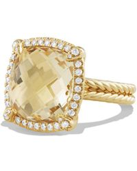 David Yurman - Châtelaine Pavé Bezel Ring With Champagne Citrine And Diamonds In 18k Gold - Lyst