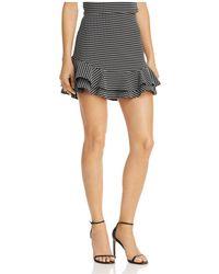 Aqua - Ruffled Check Print Skirt - Lyst