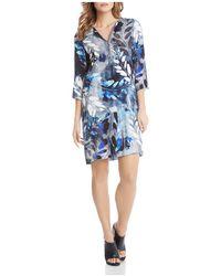 Karen Kane - Half-zip Printed Shift Dress - Lyst