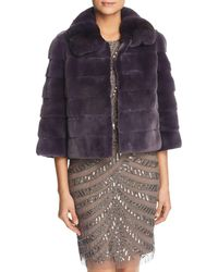 Maximilian - Plucked Mink Fur Bolero With Chinchilla Fur Trim - Lyst