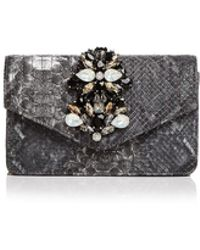 Sondra Roberts - Embellished Embossed Leather Clutch - Lyst