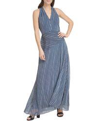 Donna Karan New York Striped Maxi Dress - Blue