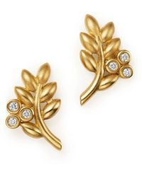 Temple St. Clair | 18k Yellow Gold Olive Branch Earrings With Diamonds | Lyst
