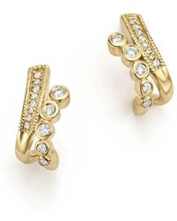 Dana Rebecca - 14k Yellow Gold Lulu Jack Diamond Bezel Huggie Earrings - Lyst