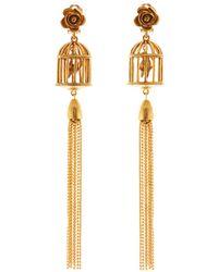 Oscar de la Renta - Birdcage Tassel Clip-on Earrings - Lyst