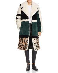 Heurueh - Razor Color-block Faux-fur Coat - Lyst