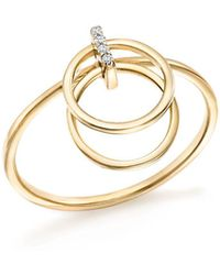 Mateo - 14k Yellow Diamond Accent Gold Circle Duo Ring - Lyst