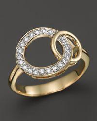 Bloomingdale's - Diamond Interlocking Circle Ring In 14k Yellow Gold - Lyst
