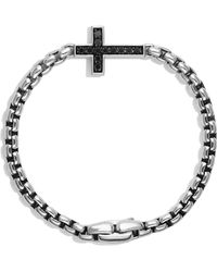 David Yurman - Pavé Cross Bracelet With Black Diamonds - Lyst