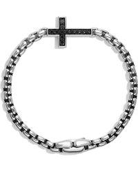 David Yurman | Pavé Cross Bracelet With Black Diamonds | Lyst