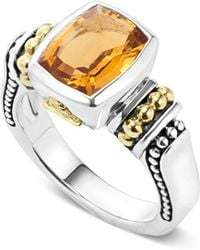 Lagos - 18k Gold And Sterling Silver Caviar Color Small Citrine Ring - Lyst