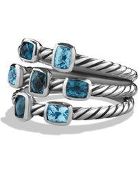 David Yurman - Confetti Ring With Blue Topaz And Hampton Blue Topaz - Lyst