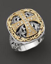 Konstantino - Sterling Silver And 18k Gold Diamond Maltese Cross Ring - Lyst