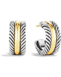 David Yurman - Cable Classics Hoop Earrings With Gold - Lyst