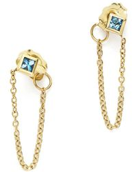 Zoe Chicco - 14k Yellow Gold Draped Chain Stud Earrings With Aquamarine - Lyst