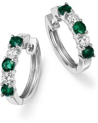 Bloomingdale's - Emerald And Diamond Hoop Earrings In 14k White Gold - Lyst