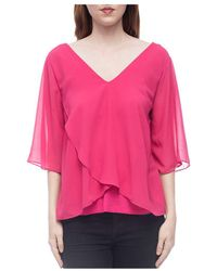 B Collection By Bobeau - Bria Mixed Media Flutter Top - Lyst