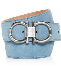 Lyst - Ferragamo Suede Double Gancini Belt in Blue for Men 131d3a7e0734