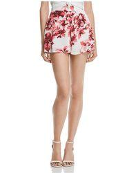 Aqua - Floral Print Shorts - Lyst
