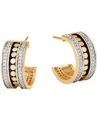 John Hardy | 18k Yellow Gold Dot Diamond Hoop Earrings | Lyst
