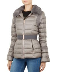 db4fd080bdee Lyst - Ted Baker Junnie Faux Fur-collar Down Jacket in Black