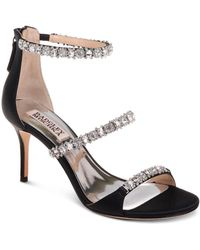Badgley Mischka Yasmine Rhinestone Jeweled Metallic Suede Strappy Dress Sandals IyAEajXjHj