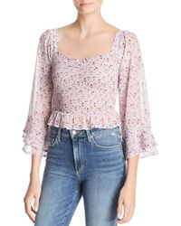 Sage the Label - Ruby Floral-print Smocked Top - Lyst