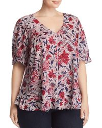 Lucky Brand - Floral-print Ruffle Top - Lyst